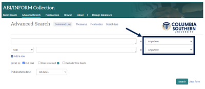 Screenshot from database with arrow pointing to search fields on right