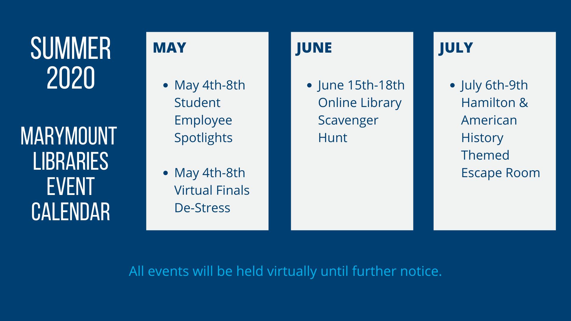 Marymount University Library Summer Outreach Calendar