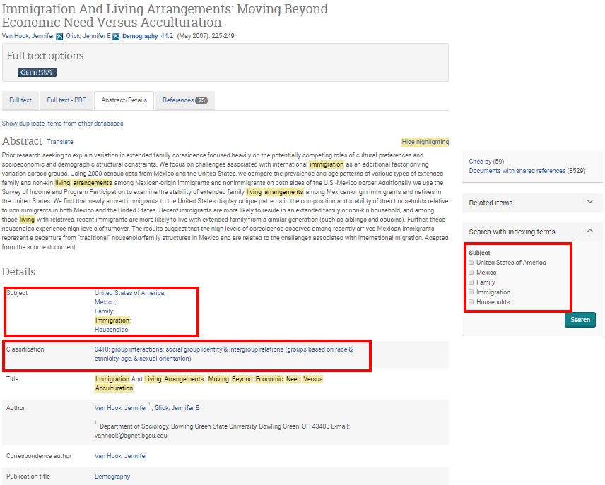sample Sociological Abstracts record showing subject tags and keyword highlighting