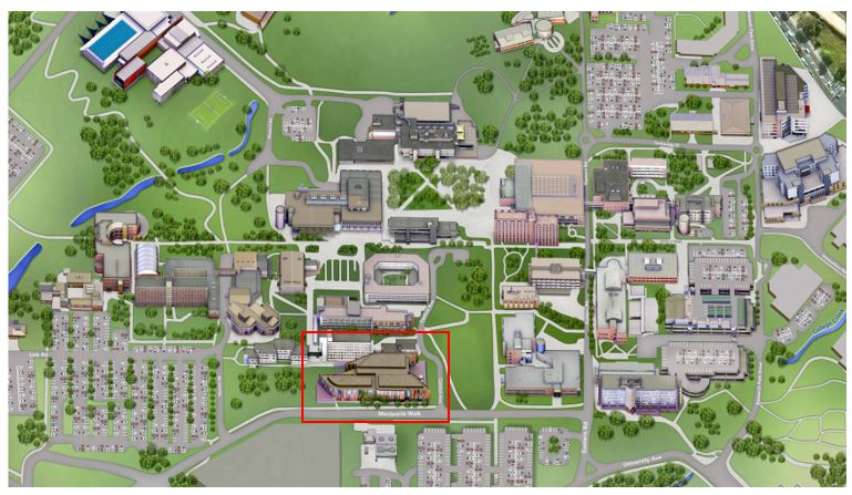 MQ campus map showing Library