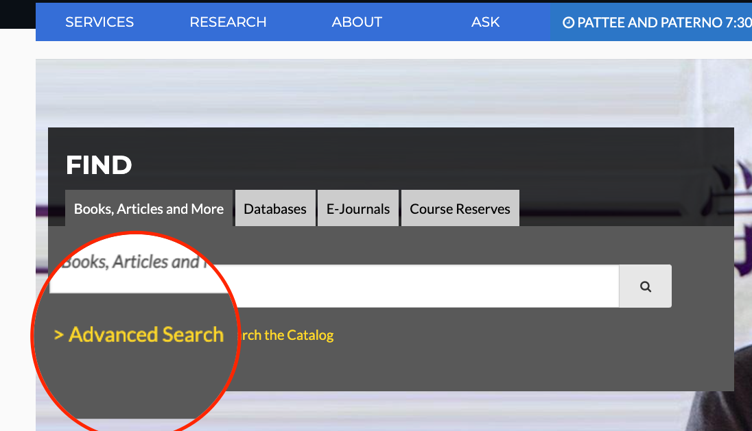 location of Advanced Search link on library website