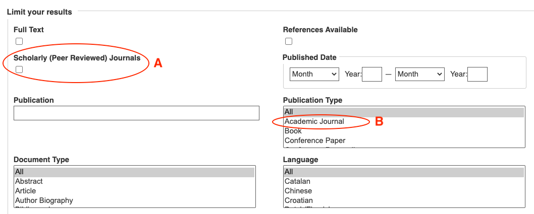 database search form showing location of (A) scholarly journals filter; and (B) academic journals filter