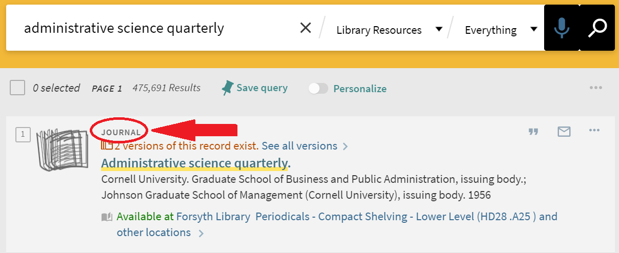 screenshot of a journal result in the library catalog