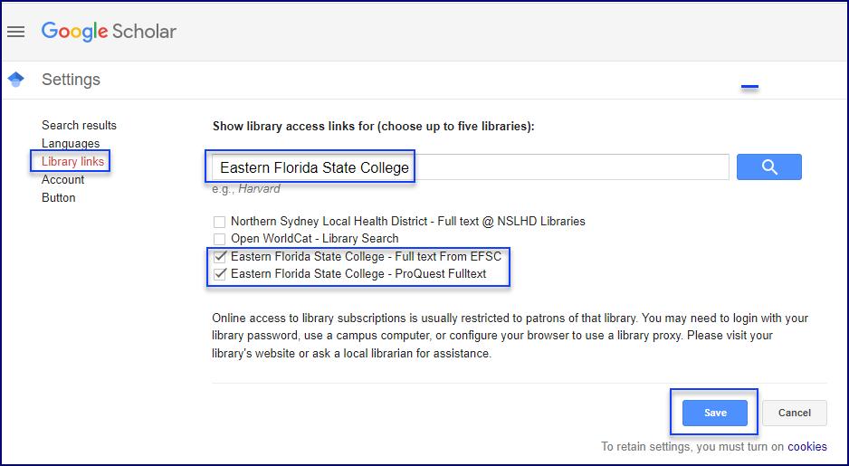 Using EFSC Links from Google Scholar