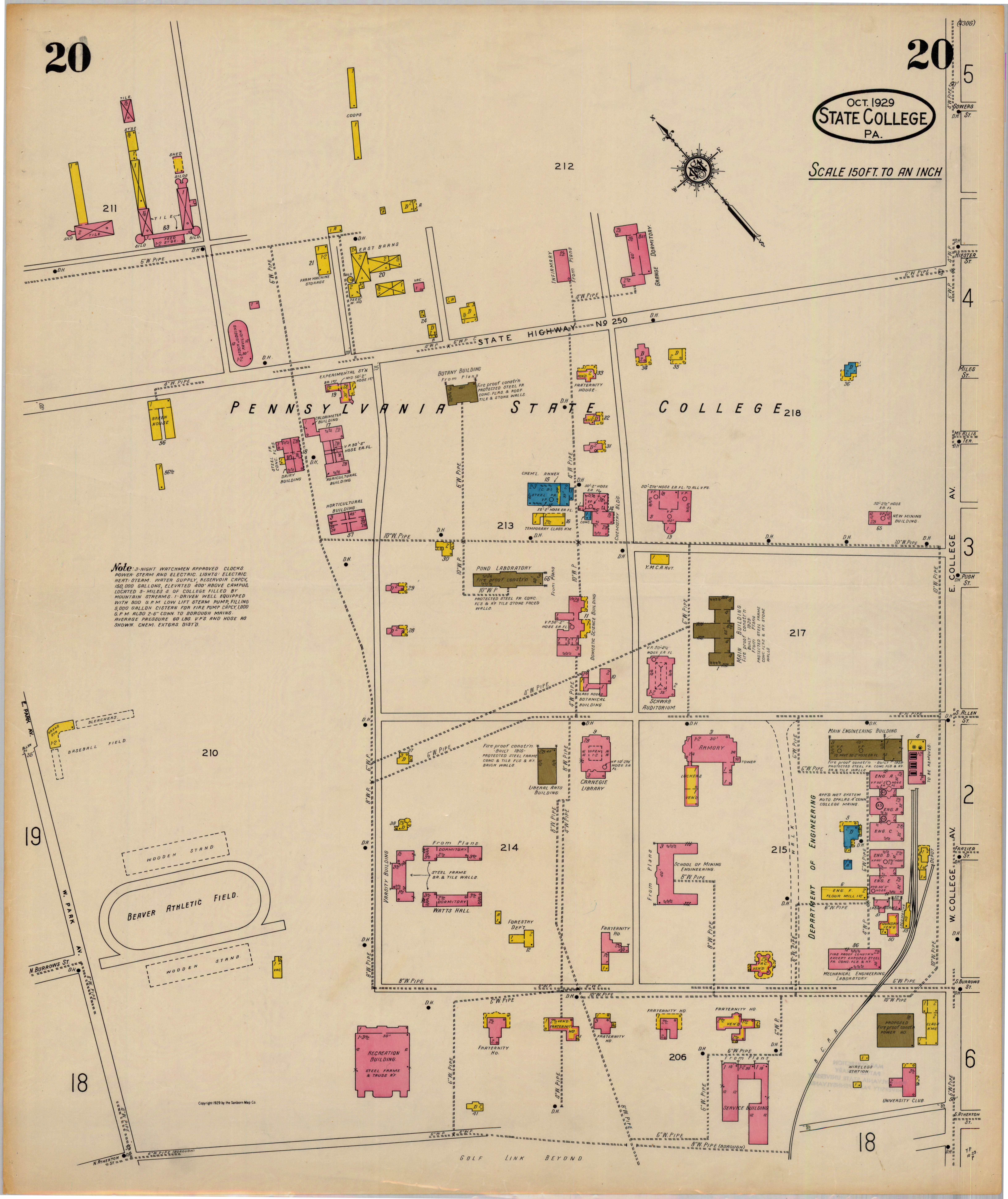 1929 PSU UP campus map