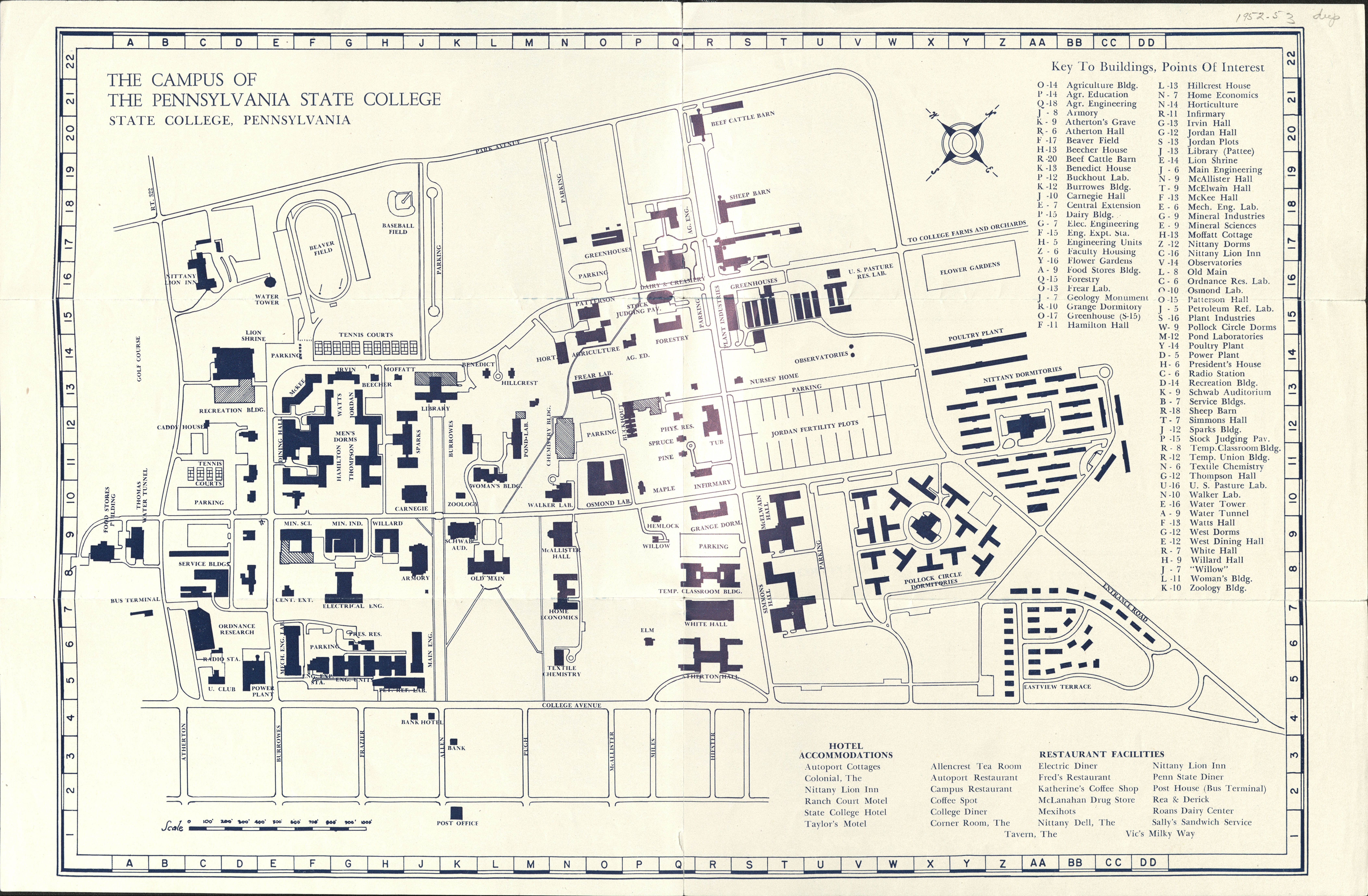 1952 PSU UP campus map