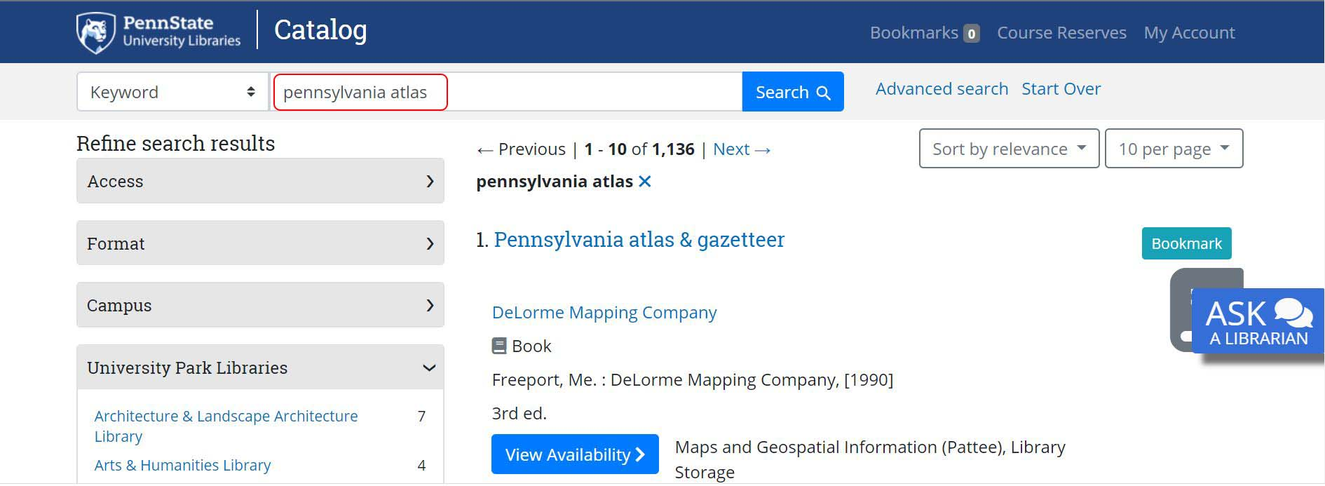 image searching the catalog for Pennsylvania atlas