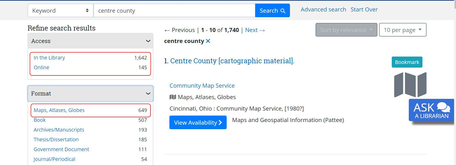 Image of libraries catalog search limiting to maps item type