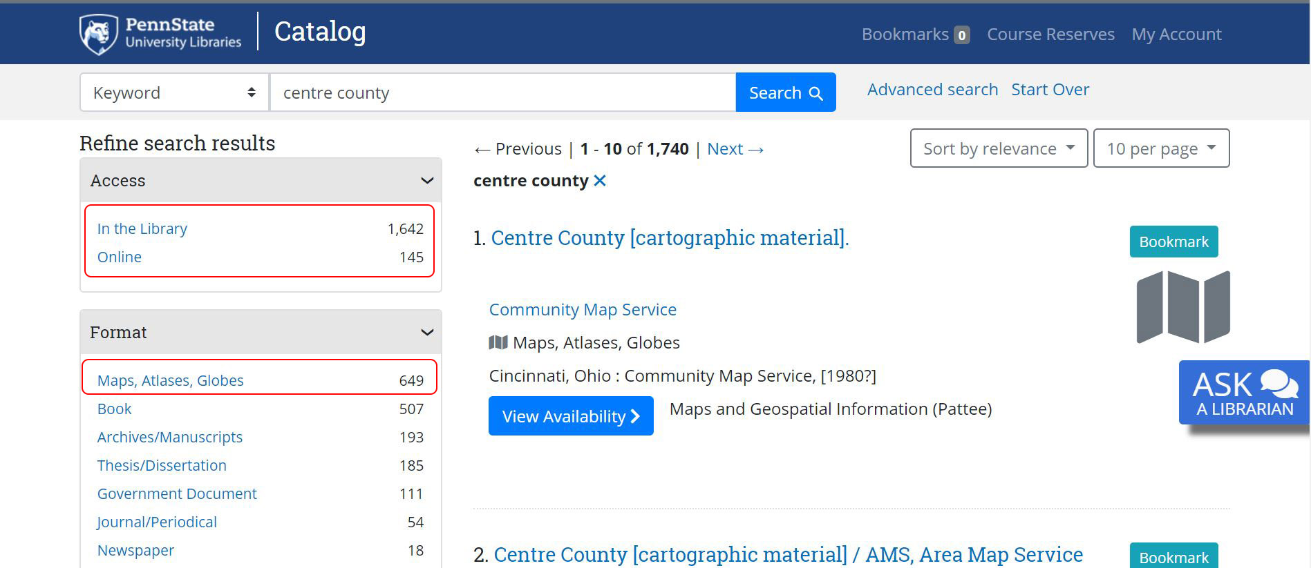 image showing catalog search for centre county and limiting by access and map