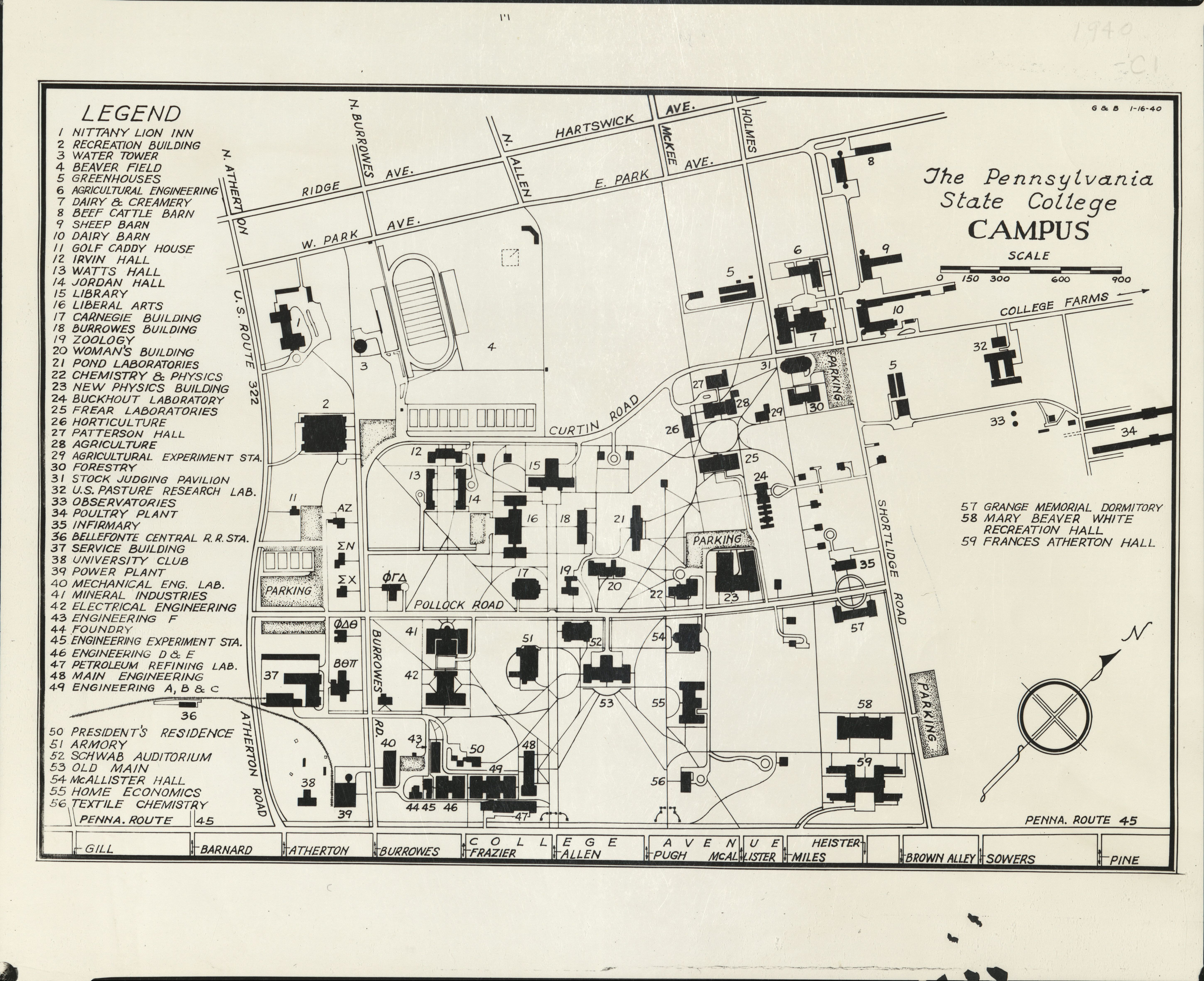 1940 PSU UP campus map