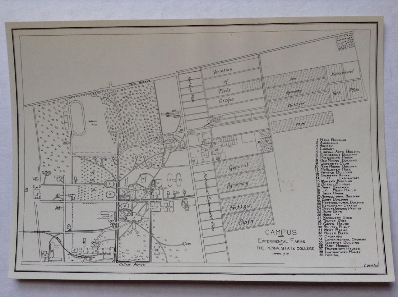 1918 PSU UP campus map