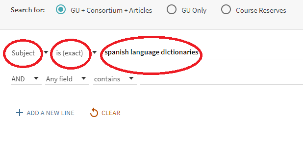 Spanish language dictionaries in advanced search