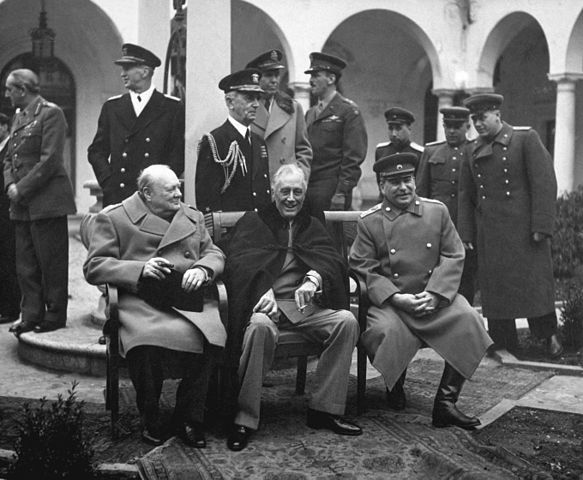 Yalta Conference: Churchill, Roosevelt, Stalin.
