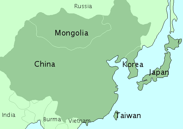 Map of East Asia.