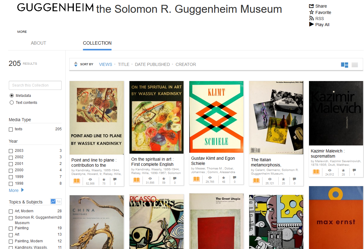 Snapshot of the free items available from the Guggenheim Collection, through the Internet Archive website