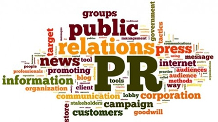 word cloud of words associated with public relations such as public, PR, information, promoting, news, message, audiences, methods, communication, corporation, groups, target, press, professionals, blog, tools and additional smaller words.