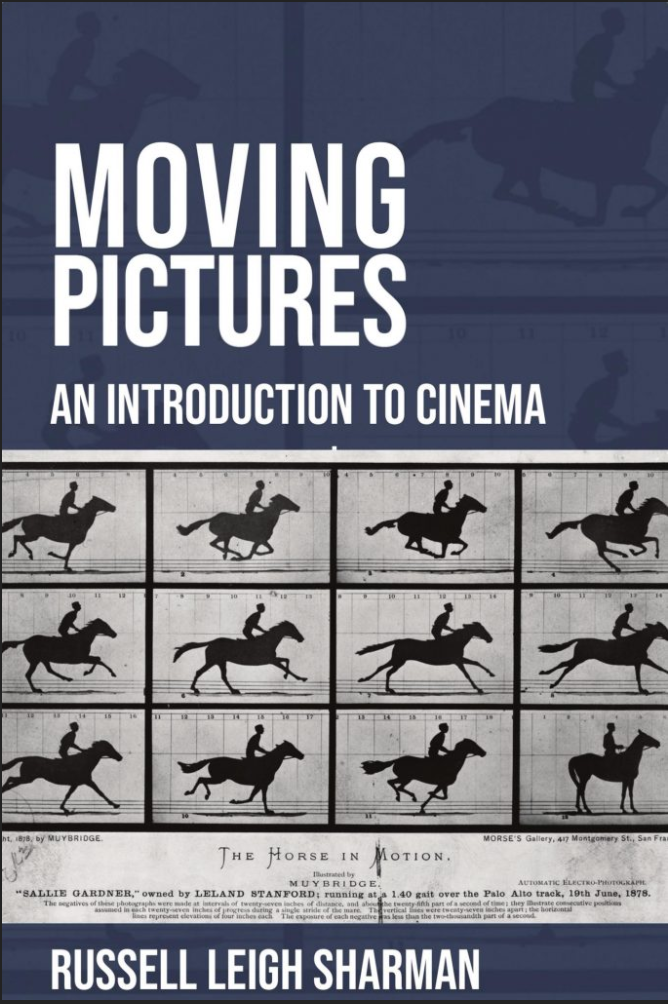 image cover for book features 12 frames from a motion picture of a person on a horse that is galloping.