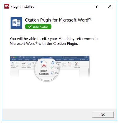 Install MS Word Plugin confirmation screenshot