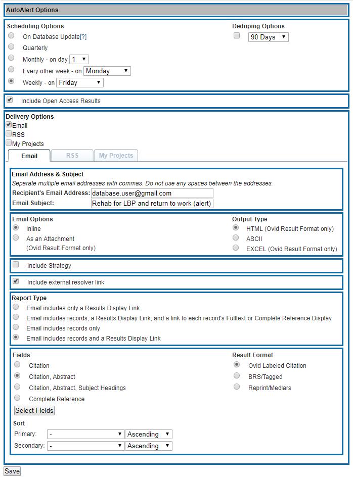 Medline - Auto Alert Settings