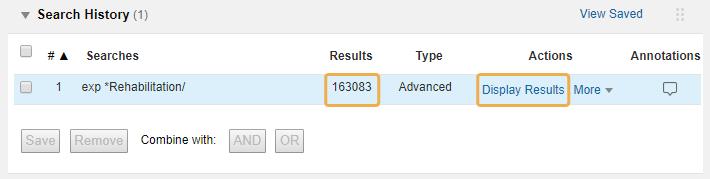 Medline - Display Results link