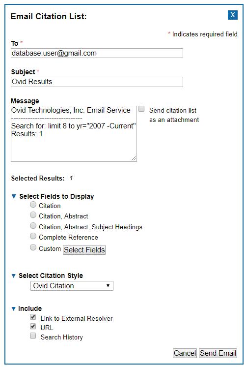 Medline - Email options