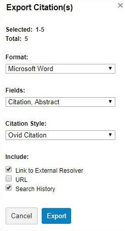 Medline - Export to MS Word options