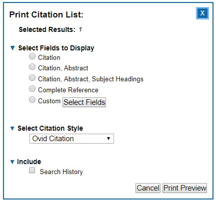 Medline - Print options