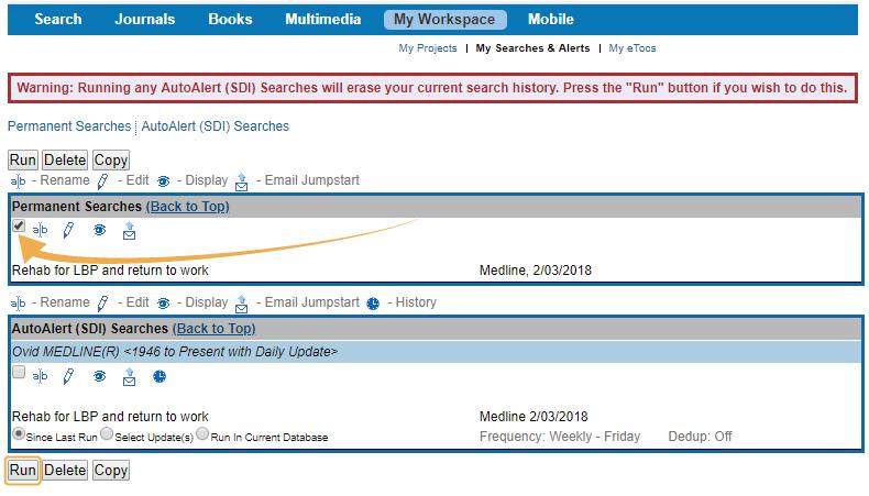 Medline - Run saved search