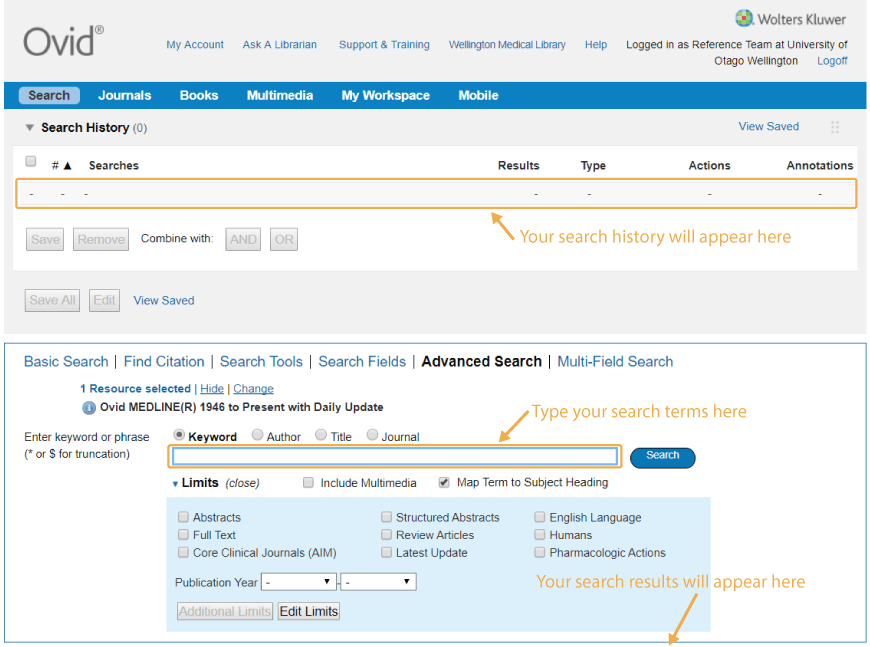 Medline search page