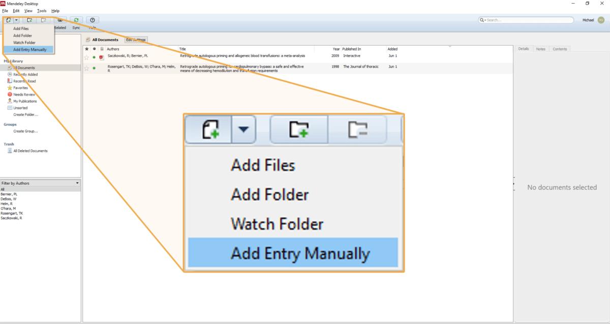 Mendeley add entry manually