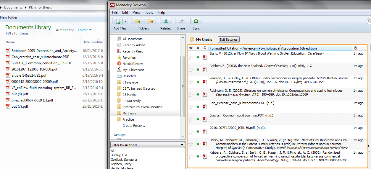 Mendeley Auto-reference