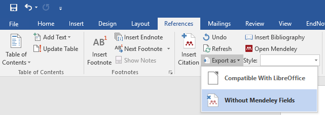 MS Word Mendeley Cite-O-Matic panel Eport as