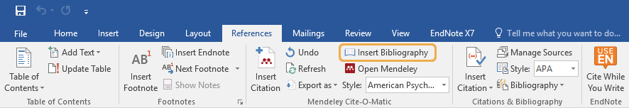 Insert Bibiography on MS Word Mendeley Cite-O-Matic panel