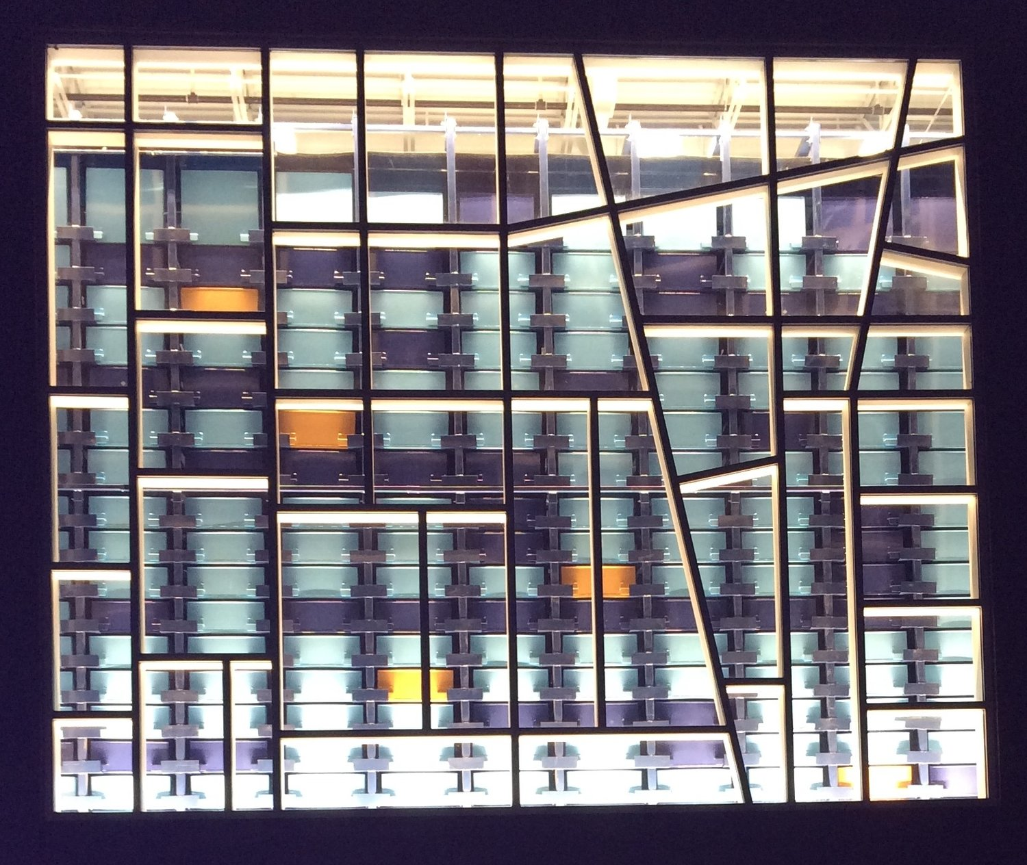 image of outside view of the ASRS, Athena, at night,
