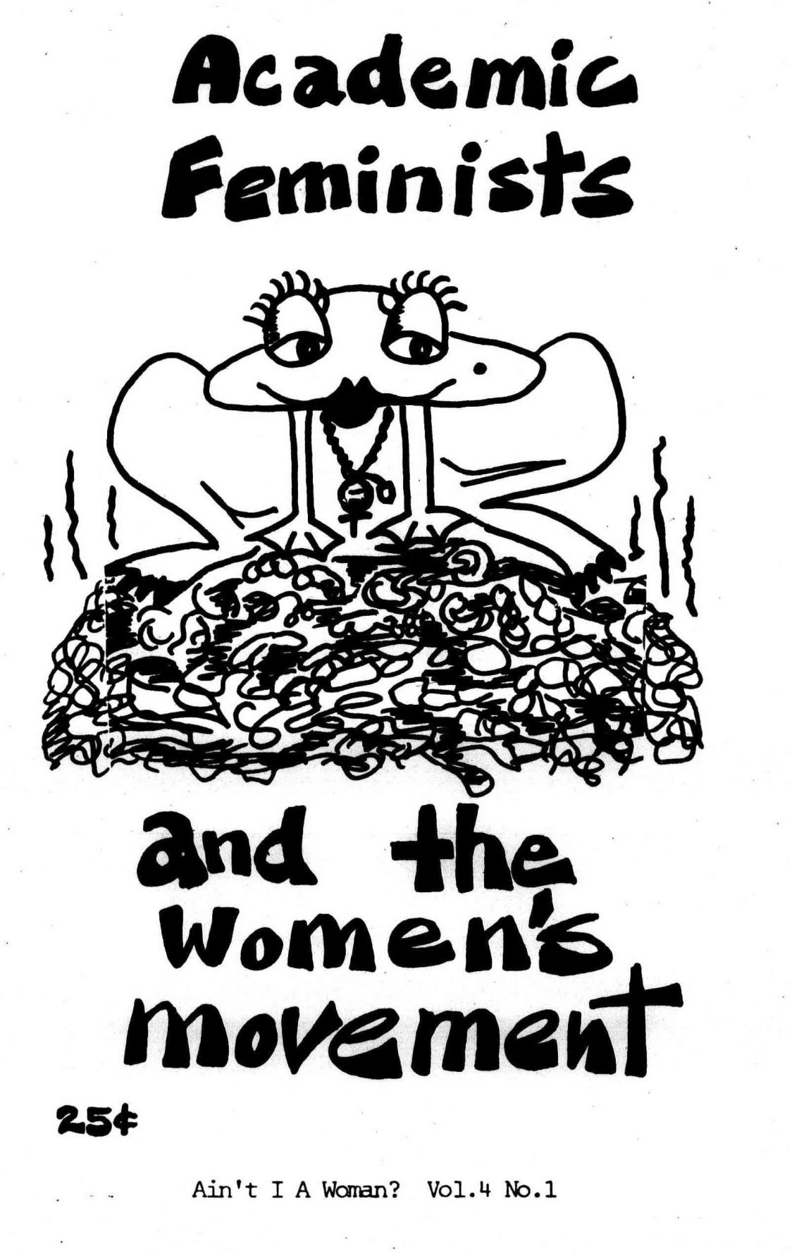 "cartoon image of a frog on top of flies, with ""academic feminists"" as the title"