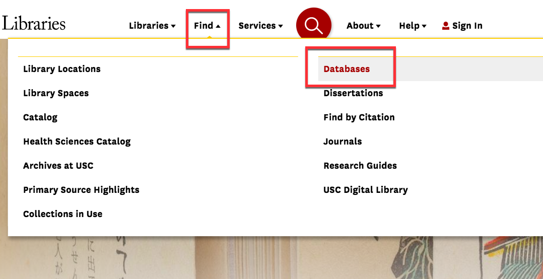 screenshot of library website drop down menu under the menu option FIND