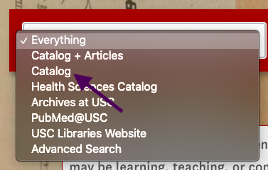image of drop down menu on library website for searching catalog