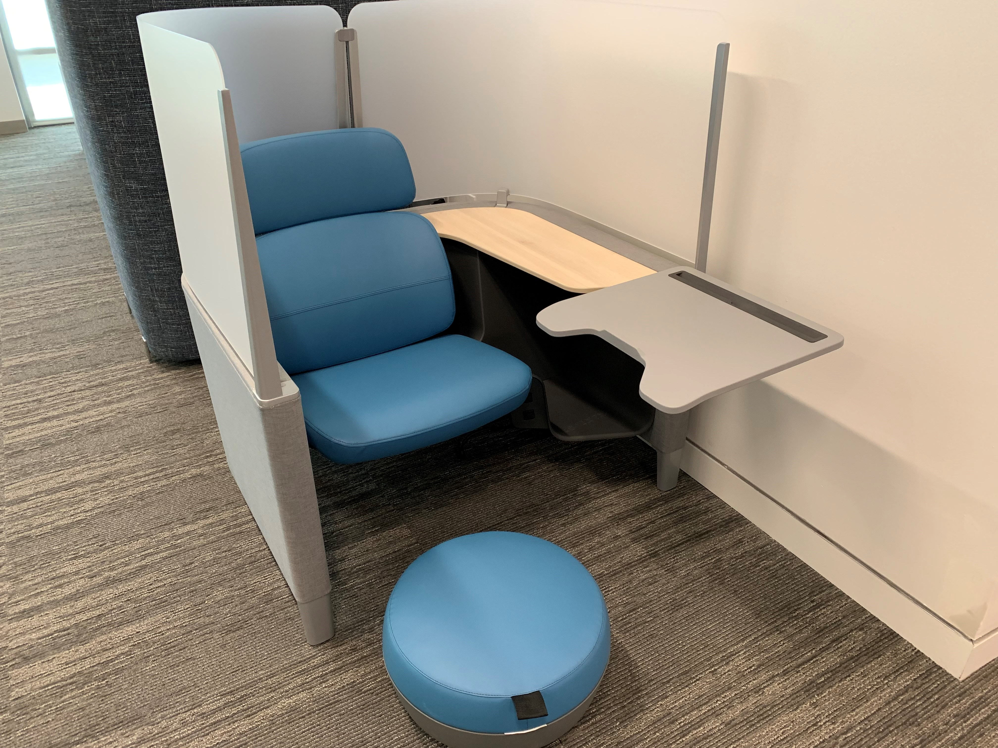 study pod with blue chair