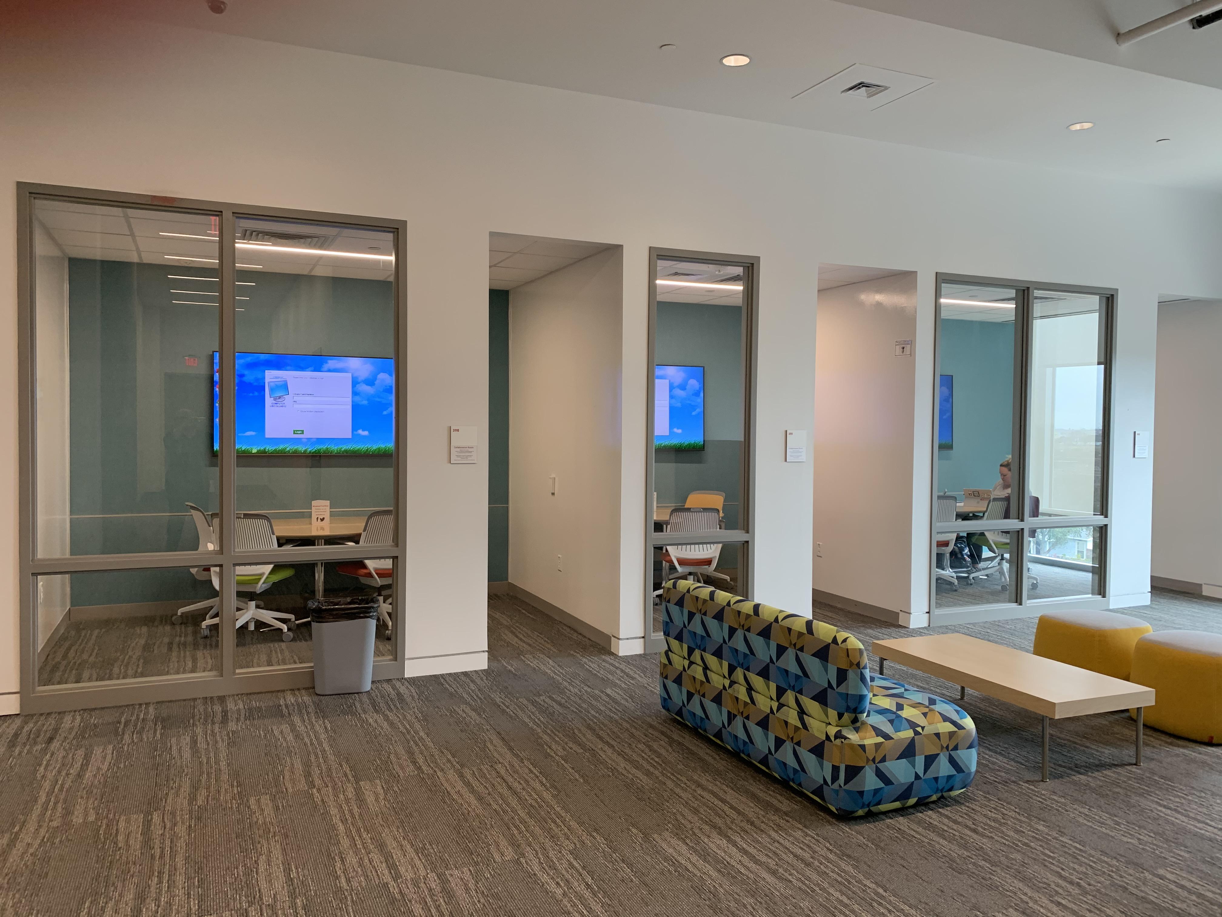 three study rooms with no doors