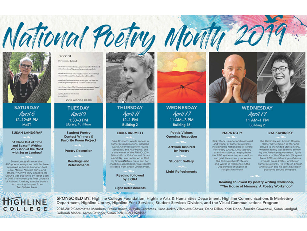"Image of Highline Poetry Month Events. Follow link ""Full Schedule"" below for screen-reader-friendly version."