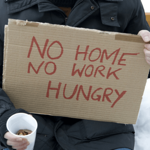 Photo image torso holding change cup and sign with text No Home, No Work, Hungry