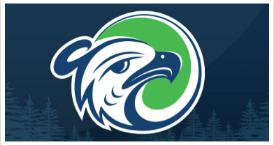 Thunderbird logo with dark blue background and evergreen trees and Hawk portrait illustration in Pacific Northwest Indigenous art style with white, blue and green coloring