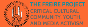 The Freire project: critical cultural community, youth, and media activism logo on orange background. Including a graphic of Circle embellished and hand with spiral design