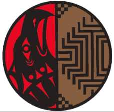 Circular graphic logo with split red and black animal on left hand side and brown and black geometrical motif in Pacific Northwest Indigenous art style