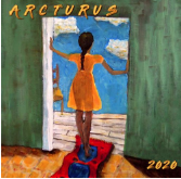 arcturus 2020 mag cover. a brown girl with an orang dress stands in a colorful doorway, hands on the doorframe, while standing on a wavy carpet, outside is a chair and endless blue sky with clouds