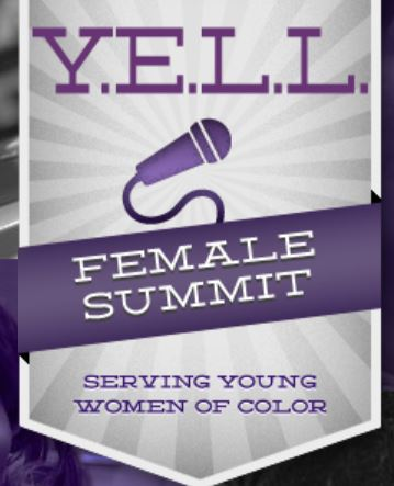 Purple text on a gray background with a purple microphone. Y.E.L.L. Female Summit: Serving Young Women of Color