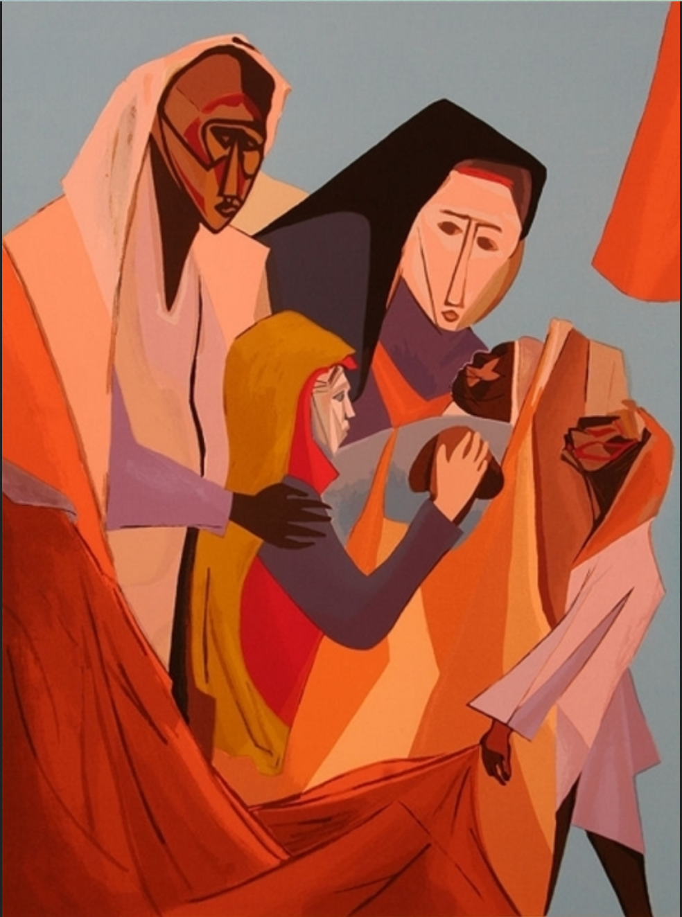 figurative painting of family holding each other: father, child, mother, baby, and third child