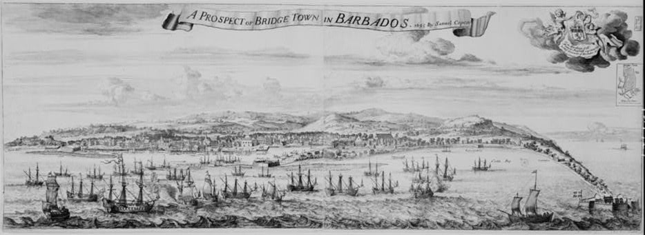 A prospect of Bridge Town in Barbados 1695 by Samuel Copen