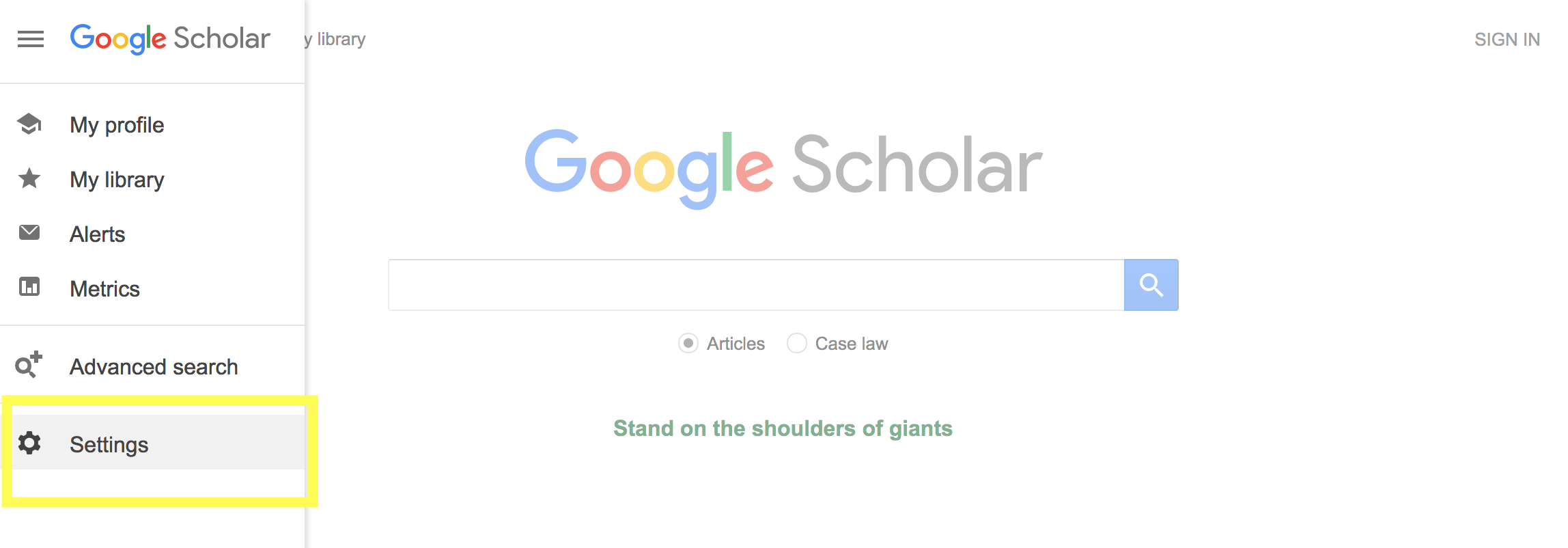 Option Menu for Google Scholar