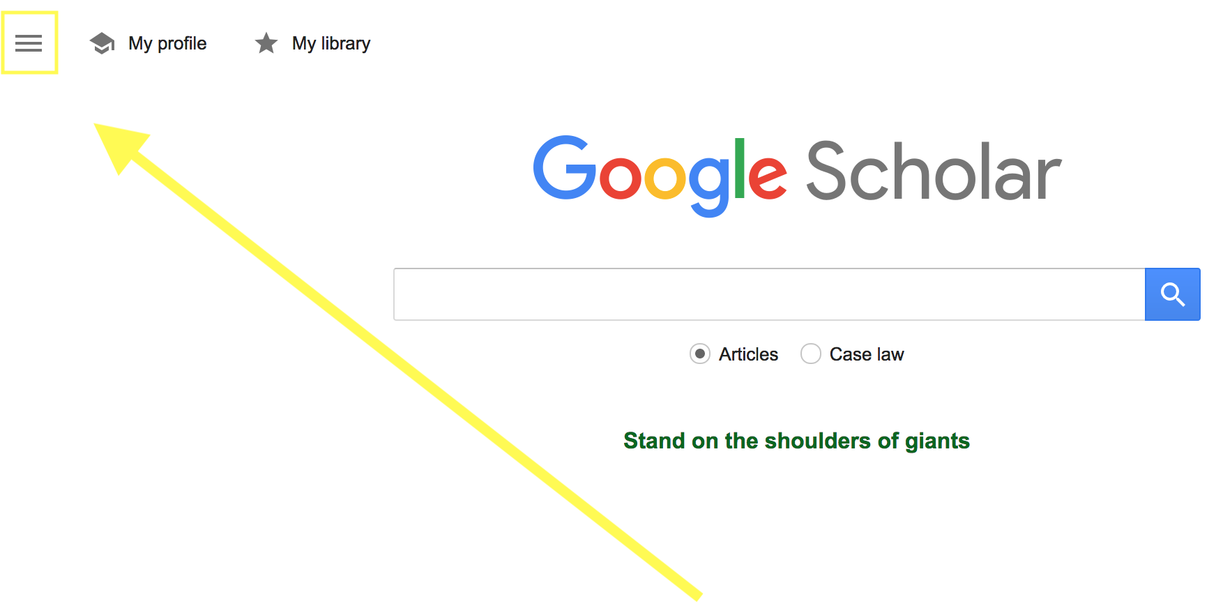 Location to click for Google Scholar Menu Options